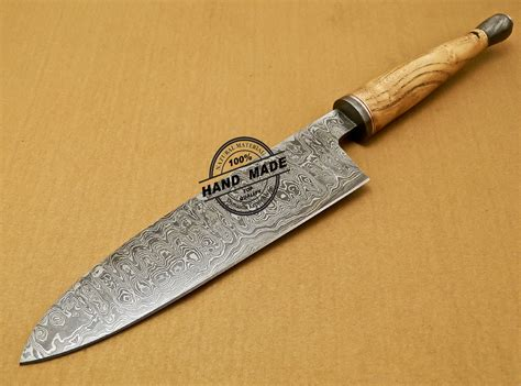 Handcrafted Kitchen Knives - damascus chef knife custom handmade damascus kitchen chef
