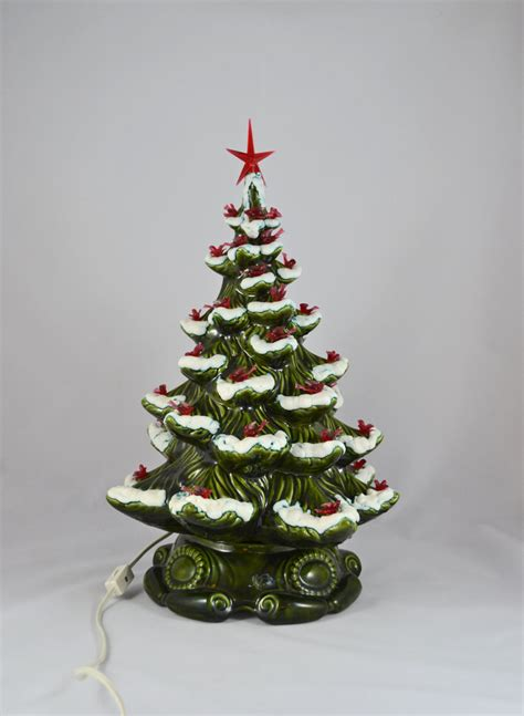 vintage musical ceramic christmas tree frosted branches with