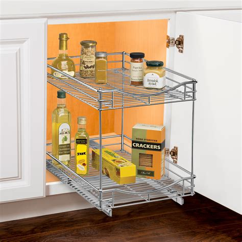 Two Tier Sliding Cabinet Organizer   14 Inch in Pull Out