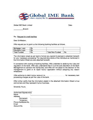 global ime bank ltd manjurinama patra for loan by dhitto in nepali fill