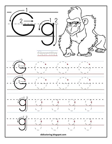 Learning To Write Worksheets by Free Printable Worksheet Letter G For Your Child To Learn