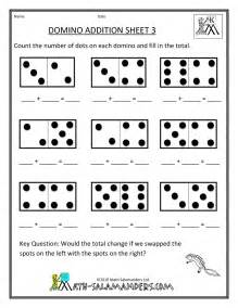 Kindergarten math domino worksheet on math addition and subtraction