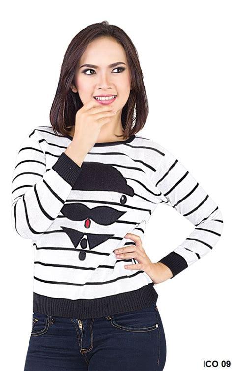 Blous Cewek Hitam Puuh Korean Style blouse atasan wanita rajut putih hitam gudang fashion wanita