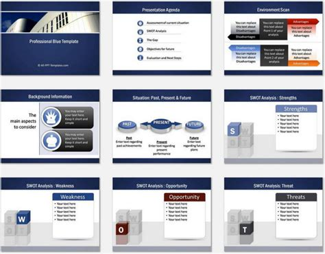 powerpoint set template powerpoint professional blue template