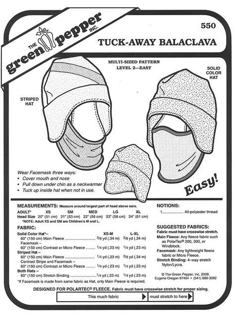 Sewing Pattern - Tuck-Away Balaclava Hat Pattern Green