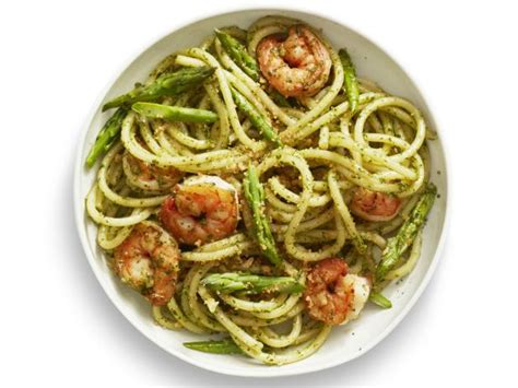 best pesto pasta recipe pesto pasta with shrimp recipe food network kitchen