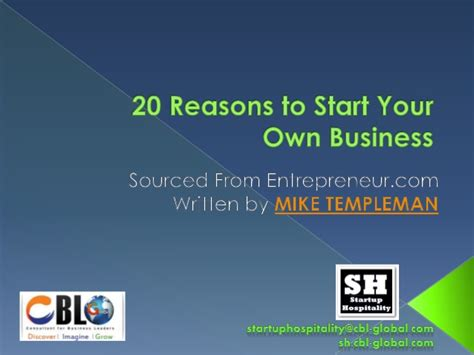 Reasons To Start Your Own Business by 20 Reasons To Start Your Own Business