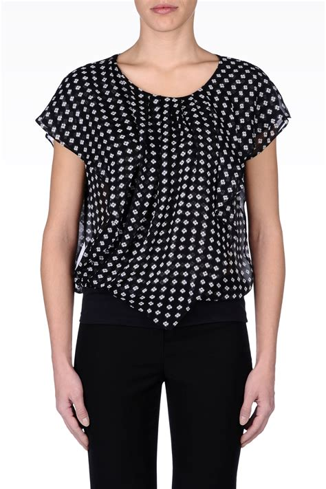 black pattern blouse armani blouse in silk georgette with floral pattern in