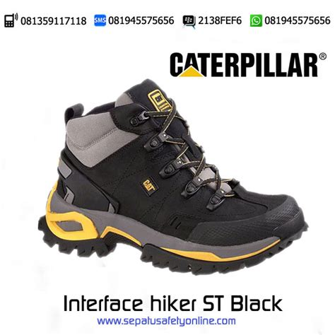 Sepatu Safety Resistant sepatu safety caterpillar interface hiker st black original berkah mulia