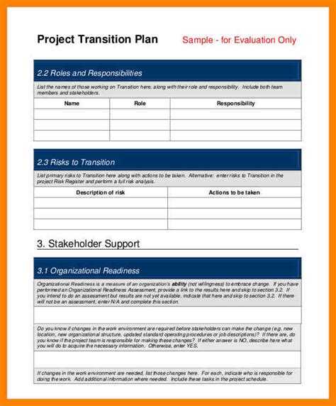 contract transition plan template 7 project transition plan template day care receipts