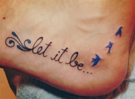 35 cute word foot tattoos