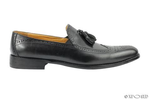mens brogue loafers mens new real leather black vintage tassel brogue