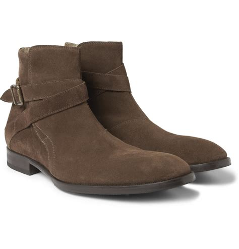 mr hare jodhpur suede buckled ankle boots in brown for