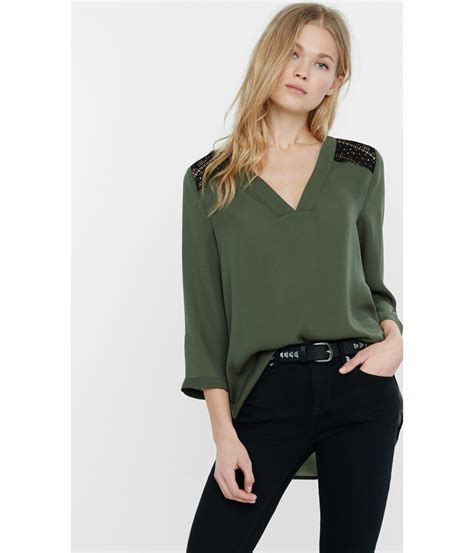 Olive Blouse Wd 1 lyst express olive v neck lace yoke blouse in green