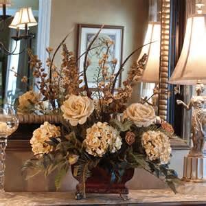 home decor centerpieces roses hydrangeas feather silk floral centerpiece ar266