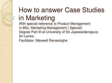Mba Marketing Study Exles by How To Answer Studies In Marketing