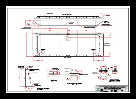 construction plans barge  autocad  cad