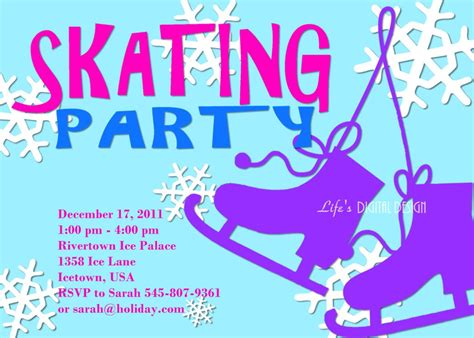 free printable birthday invitations ice skating ice skating party invitation customizable printable 4x6 or 5x7
