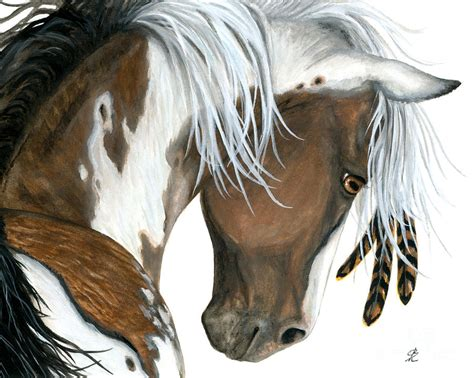 Indian Home Decor Online by Tri Colored Pinto Horse Painting By Amylyn Bihrle