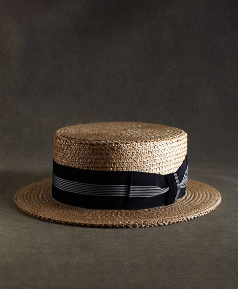 lyst brooks brothers  great gatsby collection straw boater hat  navy  white striped
