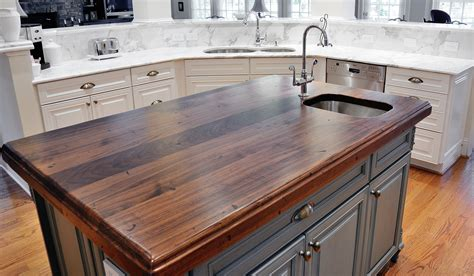 kitchen island wood countertop distressed black walnut heritage wood by artisan stone