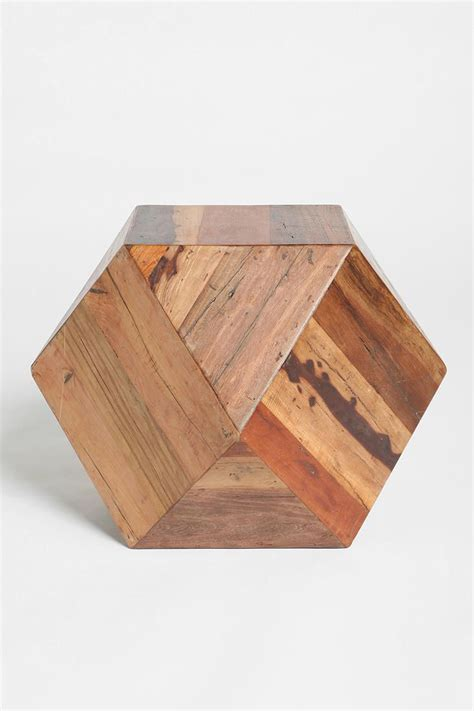 wooden side table ls faceted woodblock side table urbanoutfitters furniture