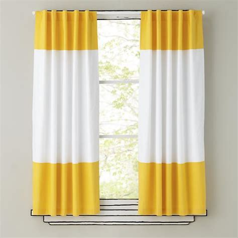 yellow window curtains yellow and white curtain panels the land of nod