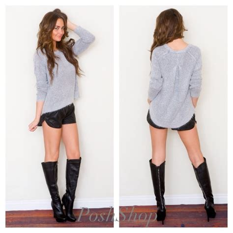 sweater track shorts knee high boots all sizes from posh