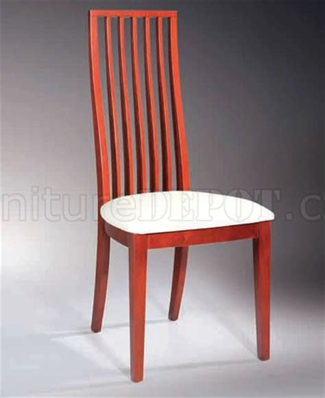 set of 2 cherry finish dining chairs with wooden splats