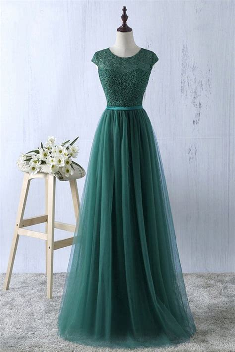 green tulle lace top  neck long evening dresses