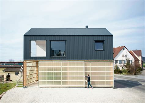 Translucent Garage Door by Small Home With 1st Floor Workshop Modern House Designs