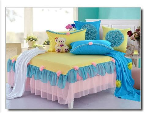 full size princess bed korean princess bedding set full queen size blue yellow