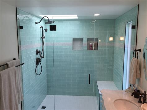 Bathroom Remodel Shower Stall Side By Side Vanities Glass Tile Bathroom Remodel Los Feliz Builders