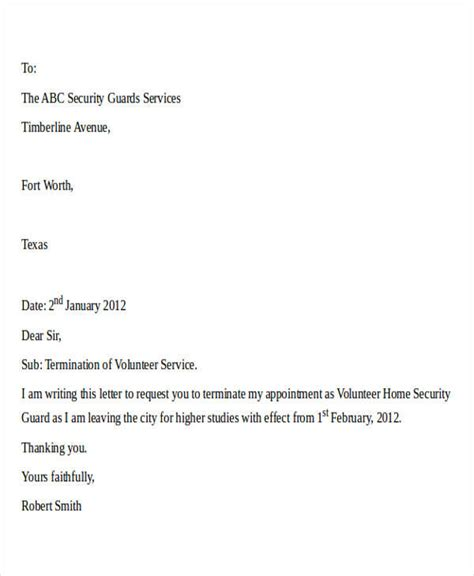 termination letter format for security services termination letter format