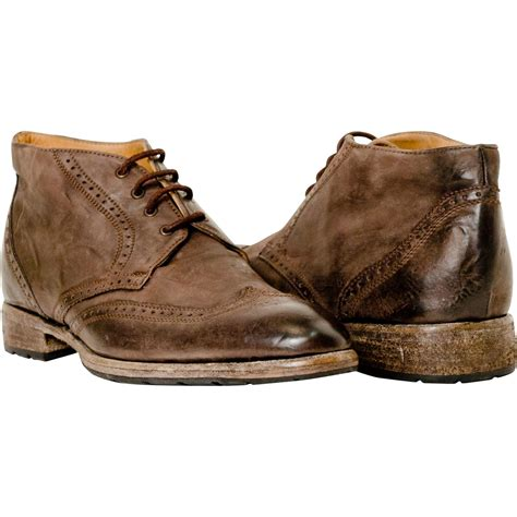 karl brown antiqued leather wing tip desert boots paolo