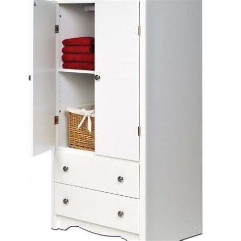 White Storage Cabinet Monterey2 Door Armoire 2 Drawer White Kitchen Storage Cabinet
