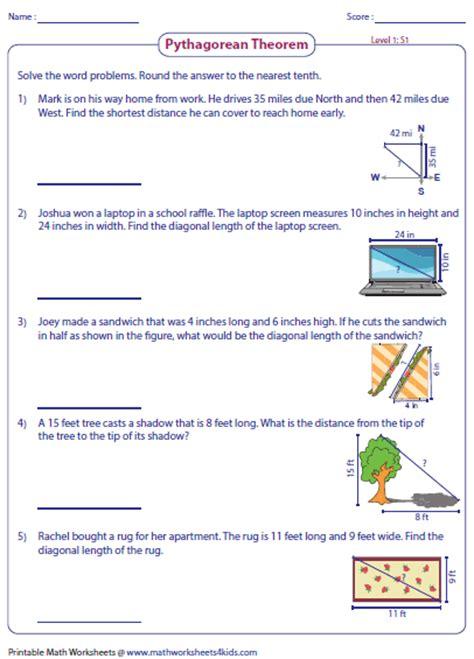 Pythagorean Theorem Word Problems Worksheet pythagorean theorem worksheets