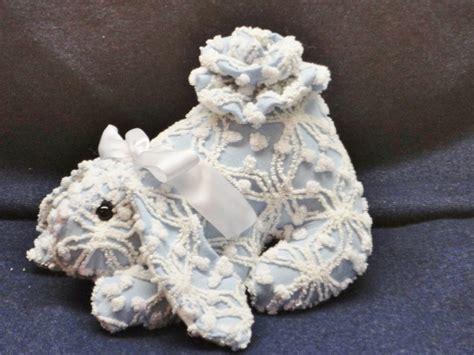 Handmade Chenille - vintage shabby chic chenille handmade bunny light blue