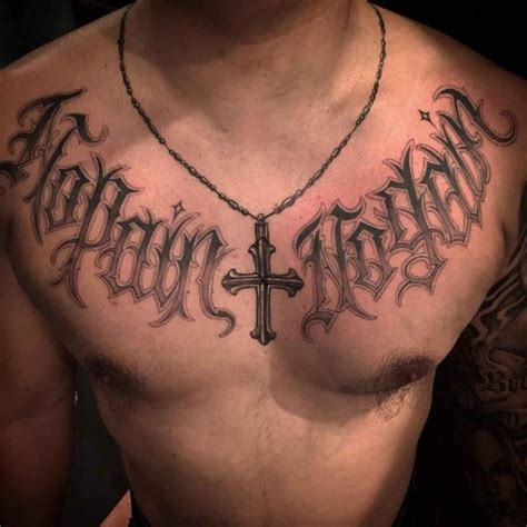 chest script tattoo chicano script best ideas gallery