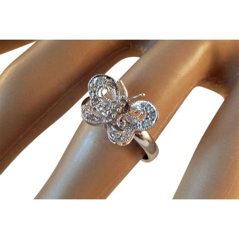 butterfly 10k white gold ring from