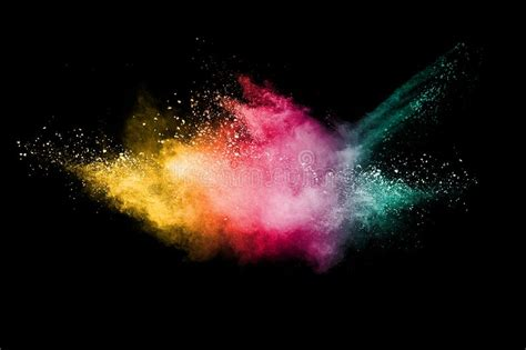color motion picture abstract multicolored powder explosion on black background