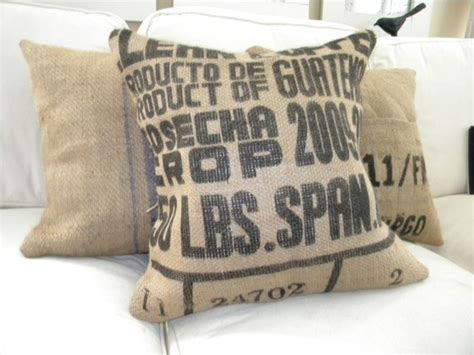 burlap coffee sack pillow eclectic decorative pillows