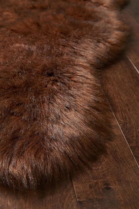 brown faux sheepskin fur rug woodwaves