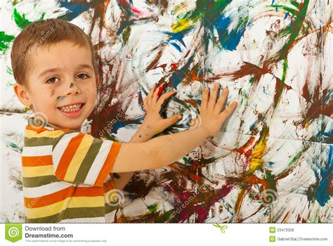 painting child child boy painting wall with royalty free stock