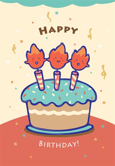 printable birthday cards greetings island 3 year old candles free printable birthday card