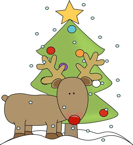 reindeer and christmas tree clip art reindeer and