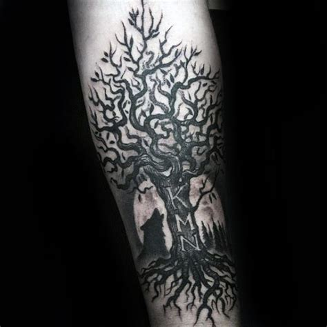 family tattoo on forearm wolf howling at the moon with family tree mens inner