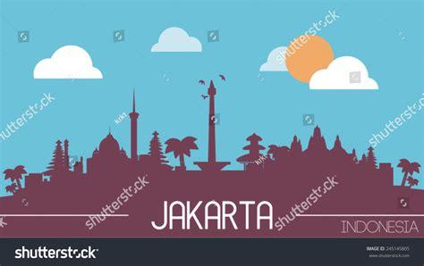 indonesia design vector jakarta indonesia skyline silhouette flat design stock