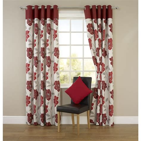 floral red curtains molly floral eyelet curtains red 117cm x 137cm home