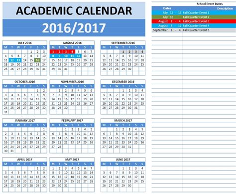 2016 2017 School Calendar Templates Microsoft And Open Office Templates School Calendar Template